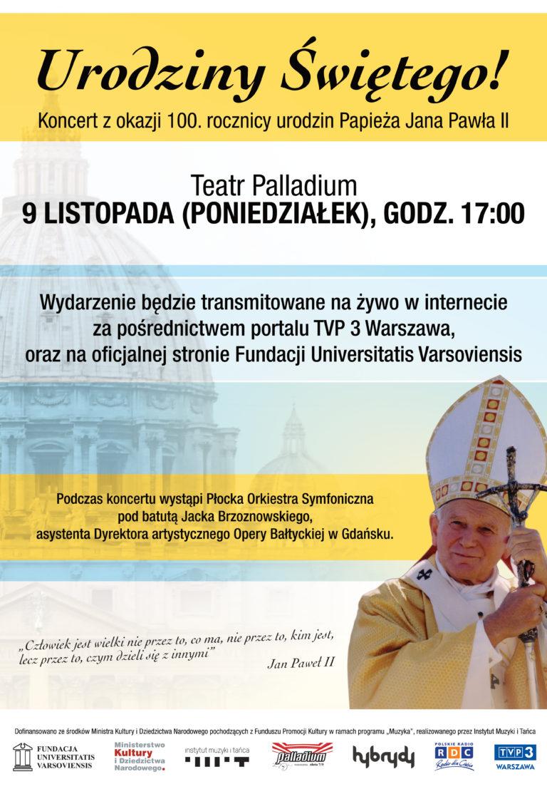 Koncert z okazji 100. Rocznicy urodzin Jana Pawła II - 9 listopad 2020, Teatr Palladium