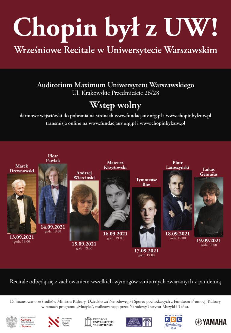 Chopin był z UW - Recitale w Uniwersytecie Warszawskim